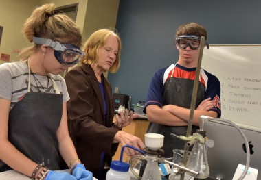 Chemistry Professor Works with Students on Dating Methods